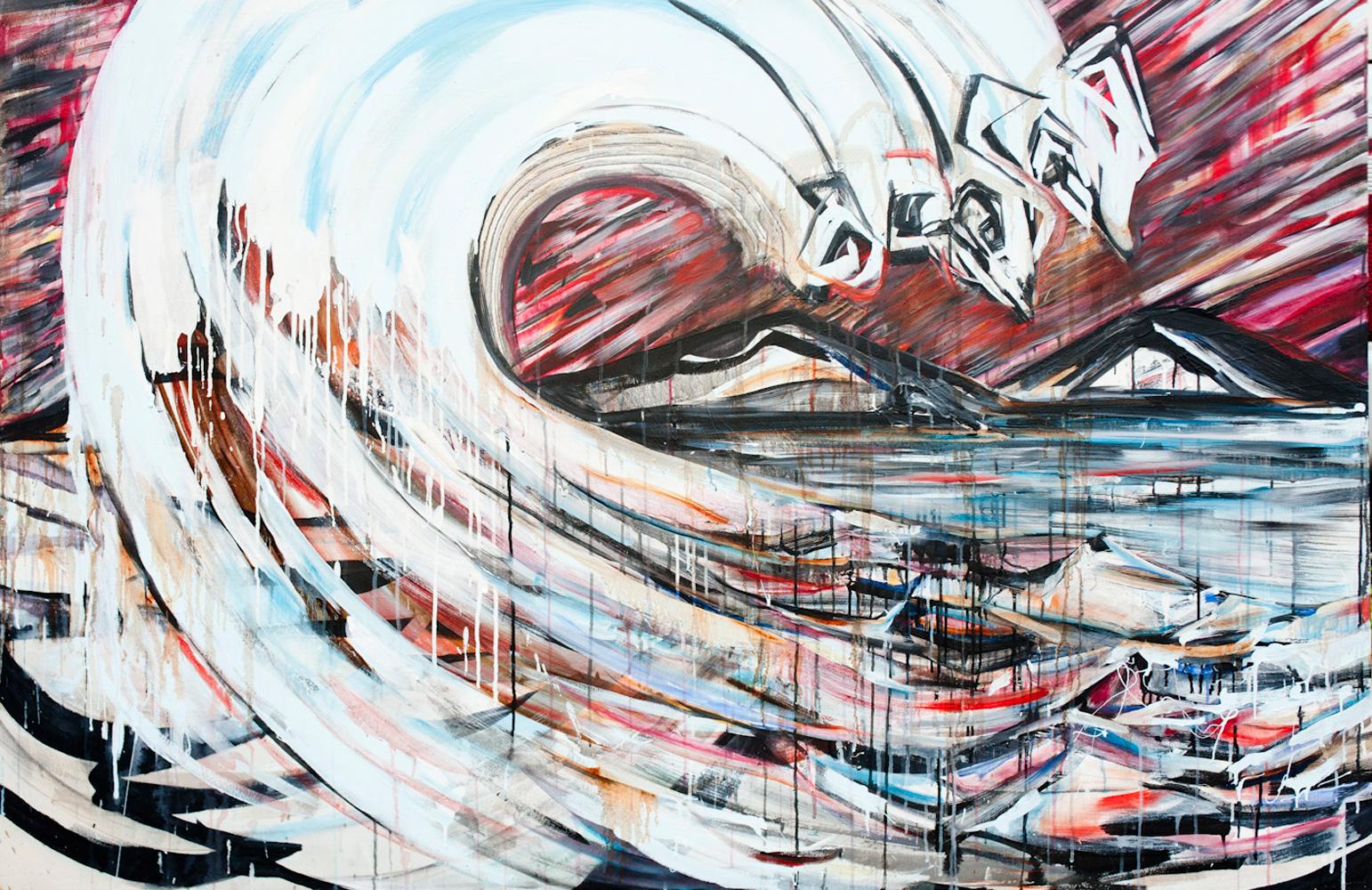 Tidal-Break-5x7ft-Mixed-media-on-canvas